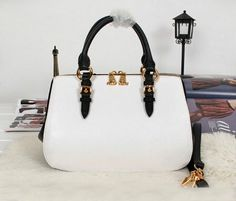 2013 Latest Miu Miu Madras Goat Leather Top Handle Bag 88008 White&Black