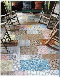 Love this tiled patchwork porch. Sharing this idea from Sun Baked Treasures. Awesome way to have a mosaic tiled floor at bargain prices -- just buy the leftover samples and broken/incomplete 12-bys.