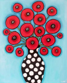 "Scarlet Poppies $500 36"" x ? I have to measure it:) Acrylic on gallery stretched canvas with 1.5"" sides. Image wraps around sides.  by Shelagh Duffett, If interested contact duffettfolkart@yahoo.ca"