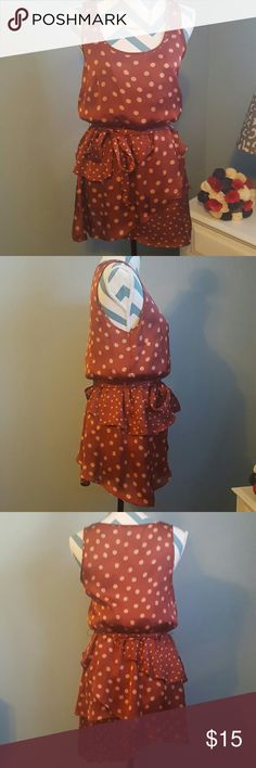 """LC Lauren Conrad: Polka Dot Ruffle Dress with Bow Material is satiny and soft, and hangs beautifully when on. Length is a little short. I am 5'5"""" and it hit me mid thigh (but it was still long enough to wear to a business casual office with a cardigan over top), so I would suggest for people that height or shorter. Fun pattern, super flattering, and really fun with the ruffles and bow. Excellent condition: worn only a handful of times. LC Lauren Conrad Dresses Midi"""