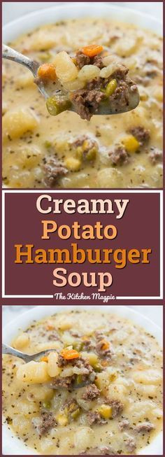 Creamy Potato and Hamburger soup! This hamburger soup is the perfect way to warm… Creamy Potato and Hamburger soup! This hamburger soup is the perfect way to warm up this winter! You can make it in the crockpot or stove top! From Karlynn Crock Pot Recipes, Easy Soup Recipes, Crock Pot Cooking, Cooker Recipes, Hamburger Crockpot Recipes, Potato Soup Recipes, Slow Cooker Hamburger Soup, Stove Top Recipes, Russet Potato Recipes
