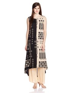 W for Woman Women's Beige Satin Straight Kurta    Material: Satin Colour : Beige Casual wear kurta Round Neck and Sleeveless Straight fit, Calf length Wash dark color separately, do not bleach, dry in shade, inside out, hot iron
