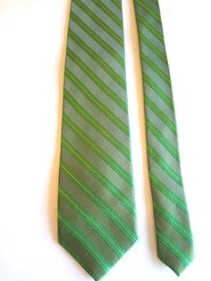 "PLATINUM BY ABS - OLIVE WITH BRIGHT GREEN STRIPES - 100% SILK NECK TIE - 59""LONG #platinumabs #NeckTie"