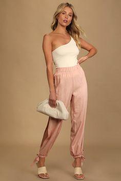Side Slit Pants, Wide Leg Pants, Cute Pants, Engagement Outfits, Fashion Joggers, Pink Pants, Affordable Clothes, Coral Pink, Jogger Pants