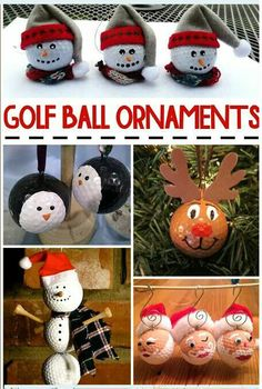 Christmas Golf Ball Ornament Ideas - never thought making crafts with golf balls., DIY and Crafts, Christmas Golf Ball Ornament Ideas - never thought making crafts with golf balls! Awesome ideas for Christmas! Christmas Ornaments To Make, Ball Ornaments, Christmas Crafts For Kids, Diy Christmas Gifts, Christmas Projects, Kids Christmas, Handmade Christmas, Holiday Crafts, Christmas Decorations