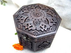 Jewelry box Ring box Wooden box Carved wood box by HappyFlying, $65.00