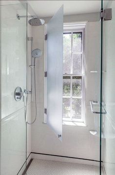 Bathroom Renovation Ideas: bathroom remodel cost, bathroom windows ideas for small bathrooms, small bathroom design ideas Upstairs Bathrooms, Master Bathroom, Attic Bathroom, Small Bathrooms, Window In Shower, Window In Bathroom, Shower Doors, Narrow Bathroom, Bath Remodel