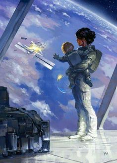 Mutter mit Sohn an Bord eines Sternenkreuzers der Forscherklasse Deepspace by John David Reece on You are in the right place about Science decorations Here we offer you the most bea Arte Sci Fi, Sci Fi Art, Cyberpunk, Character Inspiration, Character Art, Character Design, Character Concept, Sci Fi Fantasy, Fantasy World