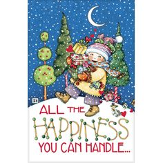 """All the Happiness"" greeting card, embossed design, with red foil and glitter snow accents. Inside hi lighted with red verse insert"