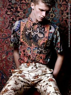 """Zachary McPherson in """"Dries Van Noten"""" Photographed by Milan Vukmirovic and Styled by Scarlett Viquel for Fashion for Men"""