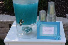 Elsa and Anna frozen punch. (blue hawaiian punch and lemonade)