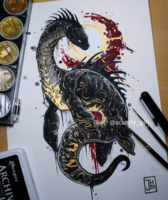 Creature Drawings, Animal Drawings, Cool Drawings, Monster Tattoo, Creature Concept, Monster Art, Gold Art, Creature Design, Animes Wallpapers