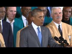 ▶ Obama Welcomes '72 Miami Dolphins to the White House - YouTube