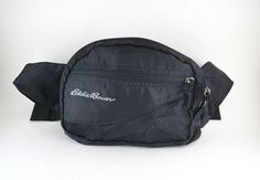 4a694478275e Eddie Bauer Black 2 Zipper Fanny Pack // 90's Hip Bag with Adjustable Strap