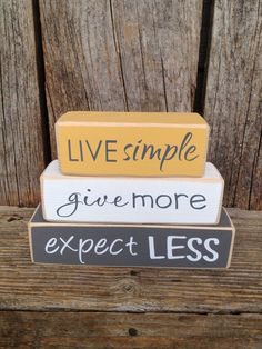Live simple give more expect less mini stacker family home wood block set or hanging signs! 2x4 Crafts, Wood Block Crafts, Wooden Crafts, Crafts To Make, Scrap Wood Crafts, 2x4 Wood Projects, Decor Crafts, Simple Wood Projects, Easy Crafts