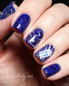 Doctor Who TARDIS Nail Art - watermarble with clear polish and OPI ColorPaints   Sassy Shelly
