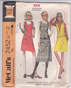 1970's Sewing Pattern - McCalls 2452 Sewing Pattern Jumper/Dress  Size 9/10 Cut, Complete Bust 30 1/2 inch by jennylouvintage on Etsy