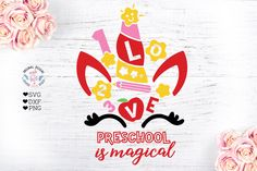 Kindergarten is Magical - Unicorn Face Cut File GraphicHouseDesign Crafters SVGs Made Design, Kindergarten, Unicorn Face, School Decorations, Magical Unicorn, Pattern And Decoration, Vinyl Designs, First Grade, Journal Cards