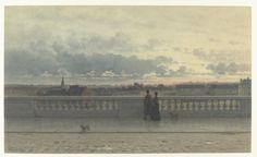 Willem de Famars Testas (Dutch; 1834–1896)Gezicht vanaf een terras over Brussel, in avondschemering = View of Brussels from a Terrace, at TwilightWatercolor and brush on paper, 1885 Rijksmuseum, Amsterdam