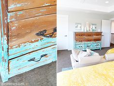 House of Turquoise:  Four Chairs Furniture and Hiya Papaya Photography. Turquoise distressed furniture. Love it!!