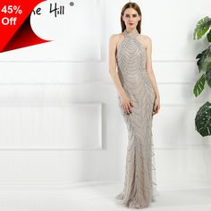 [Only $191.95] Sexy Backless Halter Gray Mermaid Long Evening Dresses 2017 Real Picture Luxury Crystal Beaded Lace Dubai Robe De Soiree