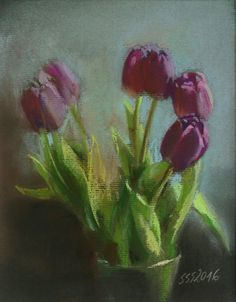 Purple tulips pastel painting by Silja Salmistu