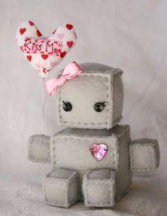 Miss Valentine the Itty Bitty Plush Robot - littlebrownbyrd etsy.com
