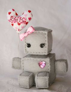 Miss Valentine the Itty Bitty Plush Robot by Littlebrownbyrd
