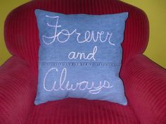 Pillow made from Upcycled Denim by madebygreersmom on Etsy