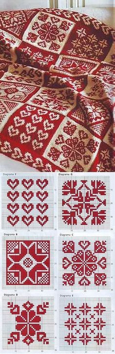 Red and White fair isle knitting pattern and designs Knitted Afghans, Tunisian Crochet, Knit Or Crochet, Knitted Blankets, Cozy Blankets, Crochet Granny, Stitch Patterns, Knitting Patterns, Crochet Patterns