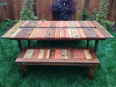DIY Reclaimed Wood Picnic Table  Instructables. In the center the put a place that you can use as a planter or cooler! Clever! Pallet Picnic Tables, Outdoor Pallet, Picnic Table Plans, Pallet Patio, Pallet Wood, Diy Pallet, Outdoor Sheds, Wooden Pallets, Pallet Crafts