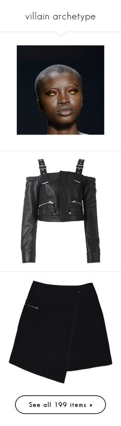 """""""villain archetype"""" by rojinnn ❤ liked on Polyvore featuring pictures, tops, blouses, jackets, shirts, black, diesel black gold, shirt blouse, leather blouse and leather shirt"""