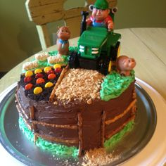 Birthday cake I made for a little boy who loves tractors!
