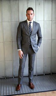 Im liking the striped tie.   grey suit, brown shoes, navy tie