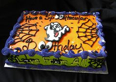 Halloween birthday sheet cake by Giggy's Cakes and Sweets, via Flickr