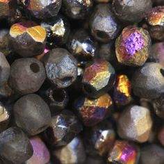 50pc  4mm Faceted Fire-polish Etched Finish Bead  by CzechLaVie