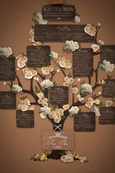 This family tree-inspired seating chart makes a beautiful accent at a rustic wedding. Guests can read about the couple's families before being directed to their table.Photo courtesy of Katie Sue Design Co.