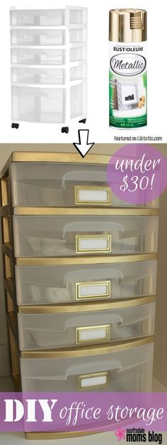 Give your plastic storage drawers a face-lift with spray paint! Perfect for a home office. -- Home decor ideas for cheap! Lots of Awesome…