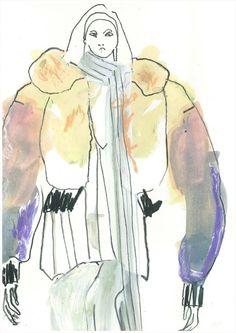 Marc Jacobs illustration by Helen Bullock Sketchbook Layout, Sketchbook Pages, Fashion Sketchbook, Sketchbook Inspiration, Fashion Sketches, Fashion Illustrations, Collage Illustration, Pattern Illustration, Spring Fashion Trends