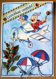 Art Impressions Hampton Art Michael's clear stamp set. SC6049 Ai His & Hers Flying High ... handmade card.