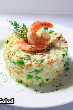A quick and easy crab salad recipe with imitation crab, shrimp, and 4 ingredient dressing. This is the ultimate seafood salad. A quick and easy crab salad recipe with imitation crab, shrimp, and 4 ingredient dressing. This is the ultimate seafood salad. Sea Food Salad Recipes, Salad Recipes Healthy Lunch, Shrimp Salad Recipes, Salad Recipes Video, Seafood Salad, Salad Recipes For Dinner, Seafood Dishes, Fish Recipes, Seafood Recipes