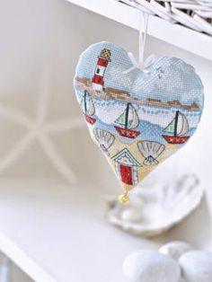 seaside cross stitch pattern, lighthouse. boats. pin cushion heart