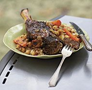 Barbecue-Braised Moroccan Lamb Shanks with Honey-Mint Glaze.  Sweet and savory flavors—a hallmark of Moroccan food—combine in this dish. The vegetables and lamb are served over couscous.