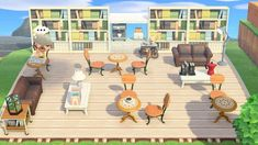 My outdoor library also serves toast, coffee, and tea! Animal Crossing Coffee, Animals Crossing, Animal Crossing Wild World, Animal Crossing Pocket Camp, Animal Crossing Game, Motifs Animal, Animal Crossing Qr Codes Clothes, Outdoor Cafe, Animal Games