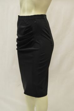SPORTMAX LECCO Sz 8 Black Stretch Ruched Pleated Front Pencil Skirt