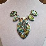 Polymer clay flower oval bead set blue gold copper green por Sweet2Spicy