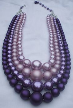 4 strand multi purple necklace made in Japan by chubbyskelliton