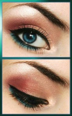 Lovely combo, peach and teal makeup