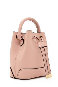 Faux Leather Mini Bucket Bag (Salmon Pink)