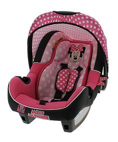 Baby Doll Car Seat, Baby Girl Car, Car Seat And Stroller, Baby Car Seats, Pink Infant Car Seat, Minnie Mouse Car, Minnie Mouse Nursery, Baby Mouse, Pink Minnie